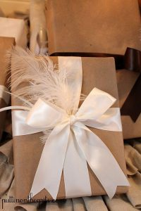 Pretty feathered gift wrap for a nice bridesmaid gift pack