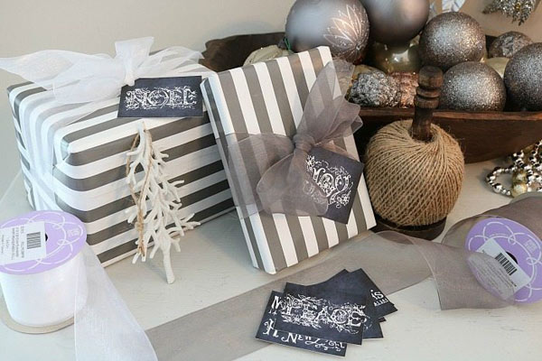 Sparkly Grey & White Gift Wrap by Refresh Restyle