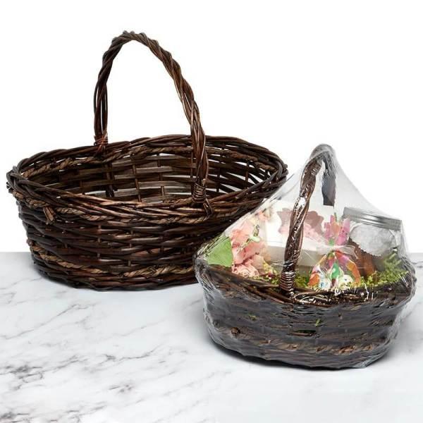 Shrink Wrapped Rustic Oval Basket Set - Deep Brown Finish