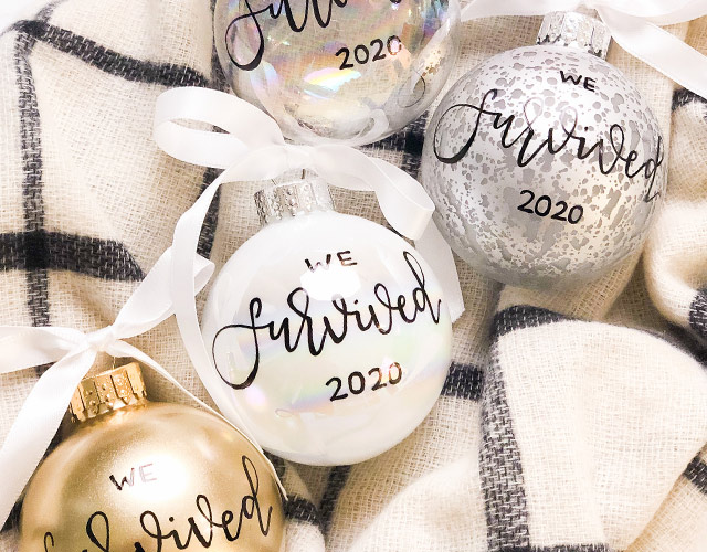 Ink & Innuendos ornaments embellished with Paper Mart ribbon