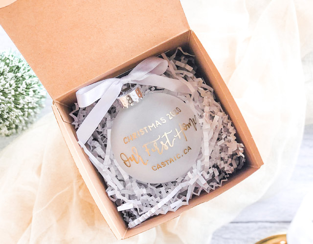 Hand lettered ornament by Ink & Innuendos packaged with Paper Mart crinkle paper