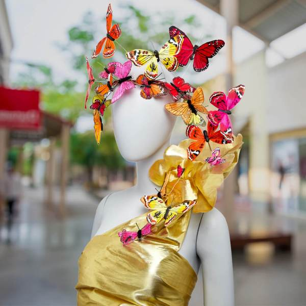 high-fashion butterfly fascinator