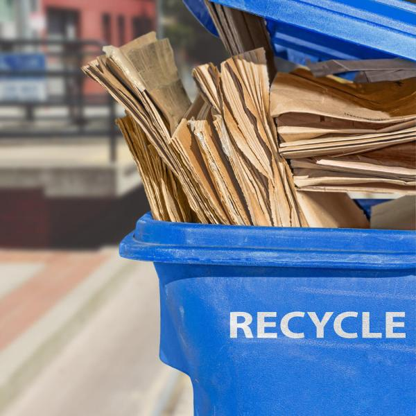 """flattened cardboard boxes placed in a blue container marked """"recycle"""""""