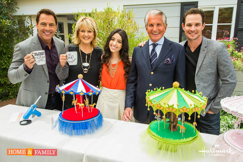 Owner and founder of Smashing Cake Toppers, Analy Garcia with the hosts of Home and Family