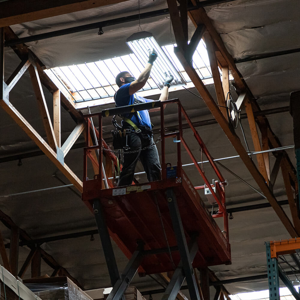 upgrading LED lights in the Paper Mart warehouse with Revel Energy