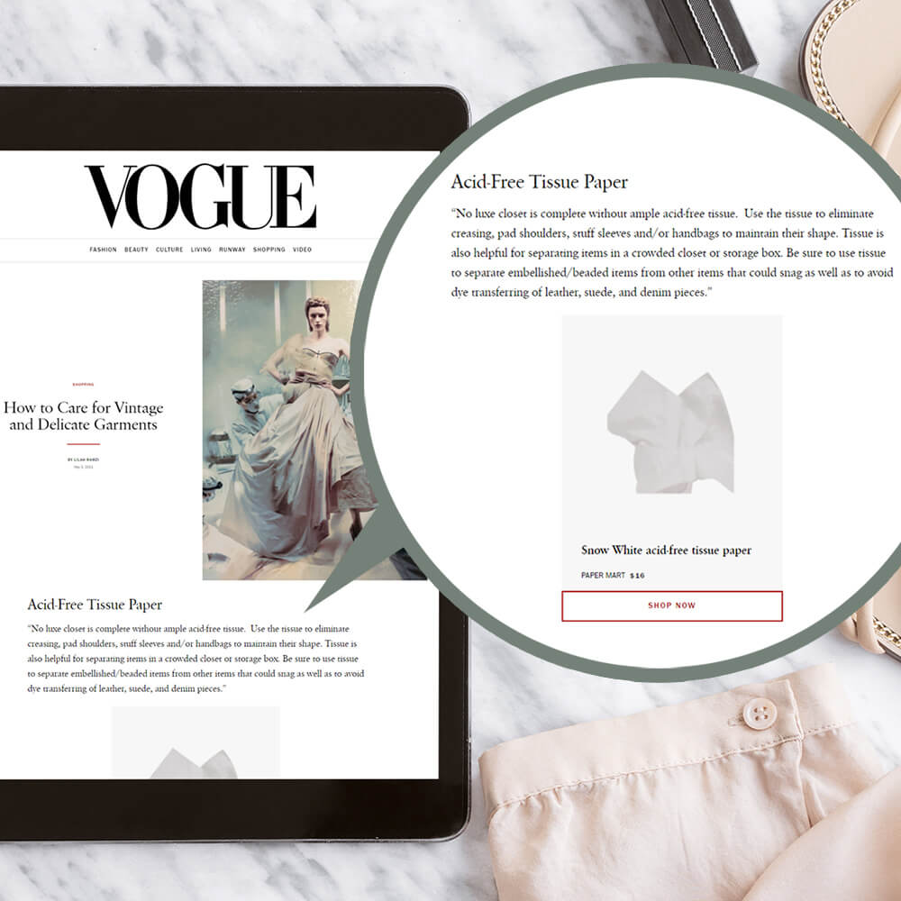 paper mart feature in US vogue