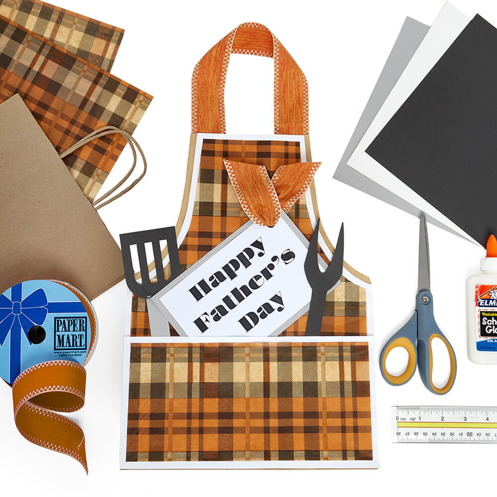 flat lay of a DIY Gift Bag made with paper mart products and craft supplies