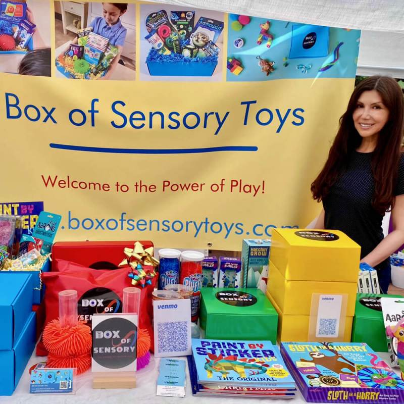 box of sensory toys