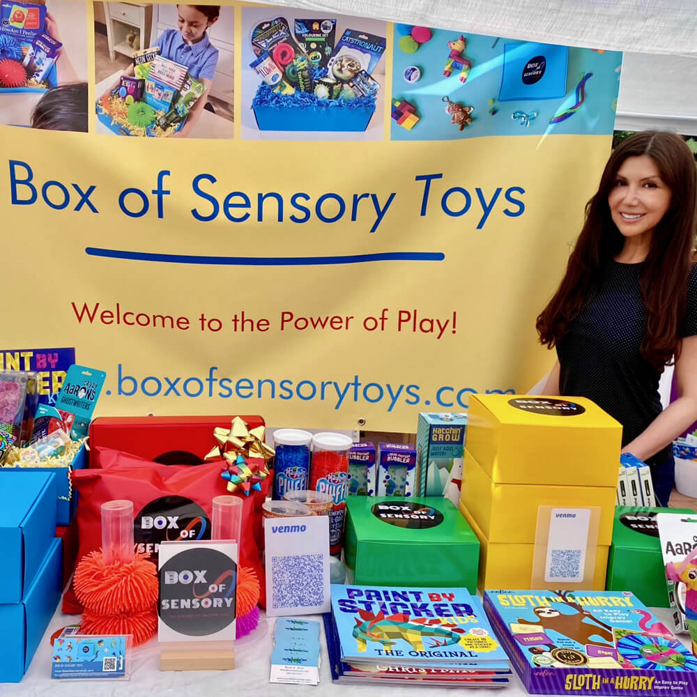 Rosa Alva, the founder and creator of Box of Sensory Toys at an outdoor pop up event
