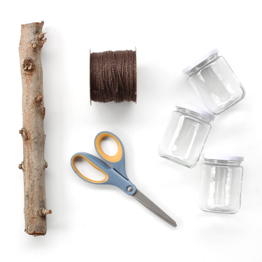 flat lay image of Paper Mart craft supplies for a macrame plant hanger