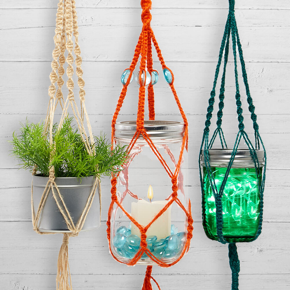 image of three macrame plant hangers with different knot styles