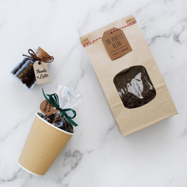 flat lay of DIY coffee favors