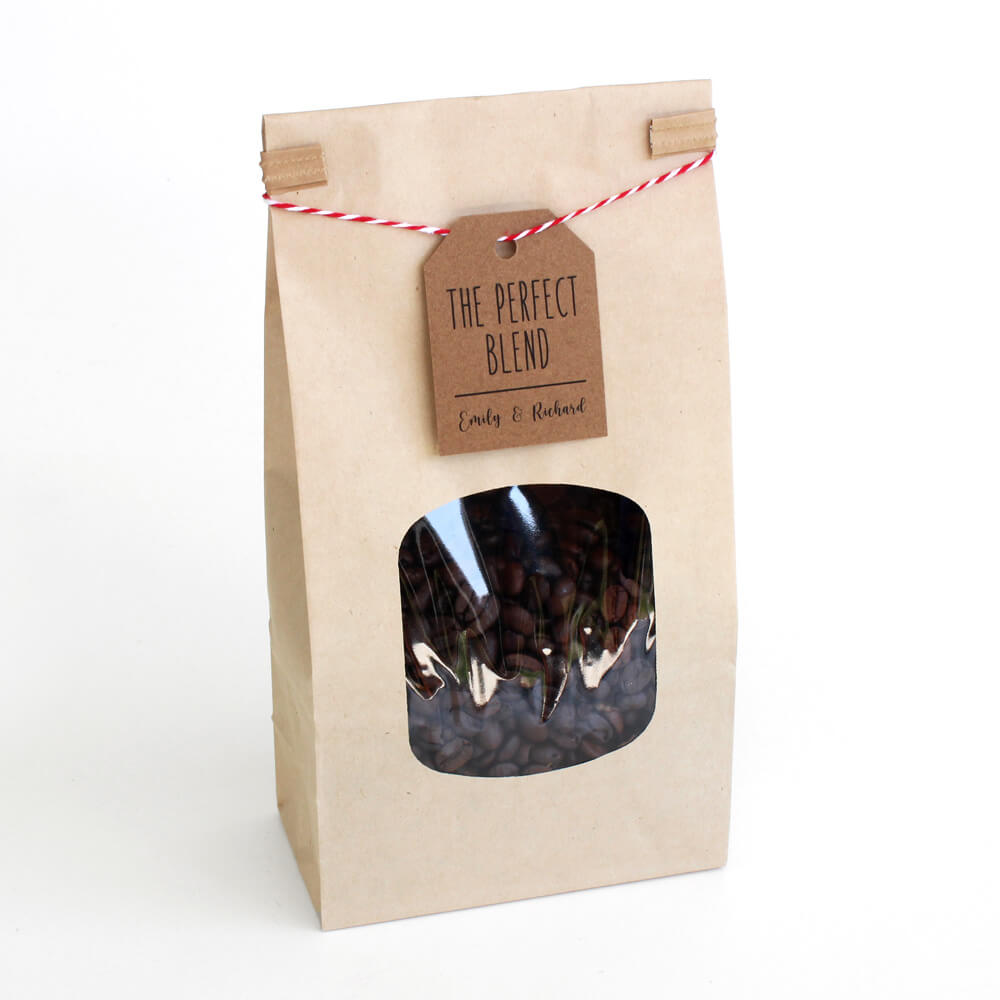 paper mart kraft tin tie bag coffee gift with twine and label