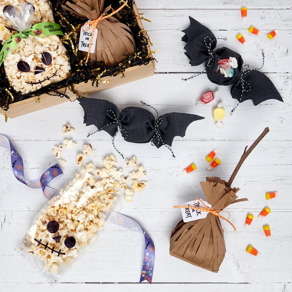 flat lay of DIY Halloween Treat Bags
